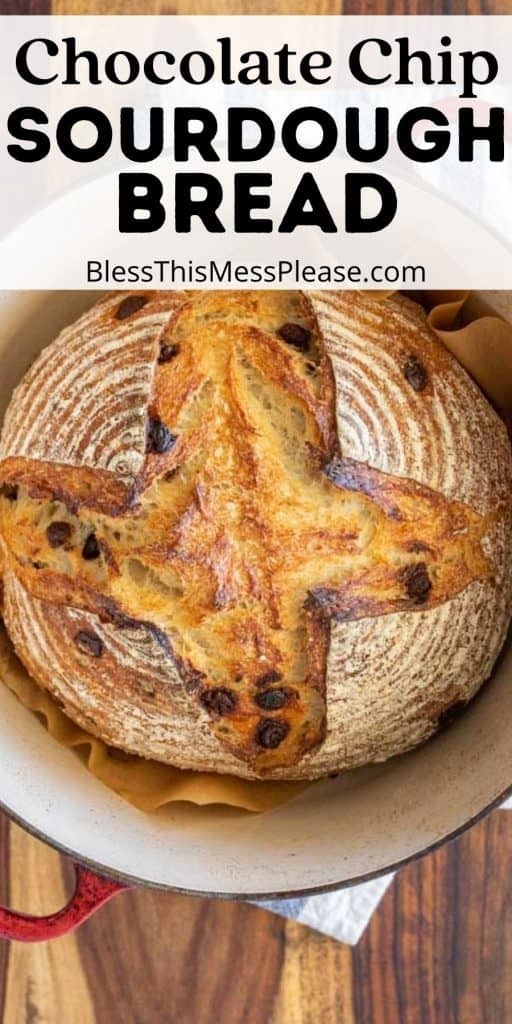 """loaf of chocolate chip sourdough bread in a cast iron pot with the words """"chocolate chip sourdough bread"""" written at the top"""