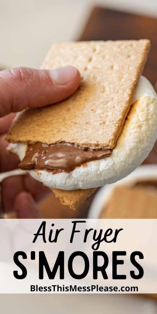 """Hand holding a smores with the words """"air fryer smores"""" written at the bottom"""