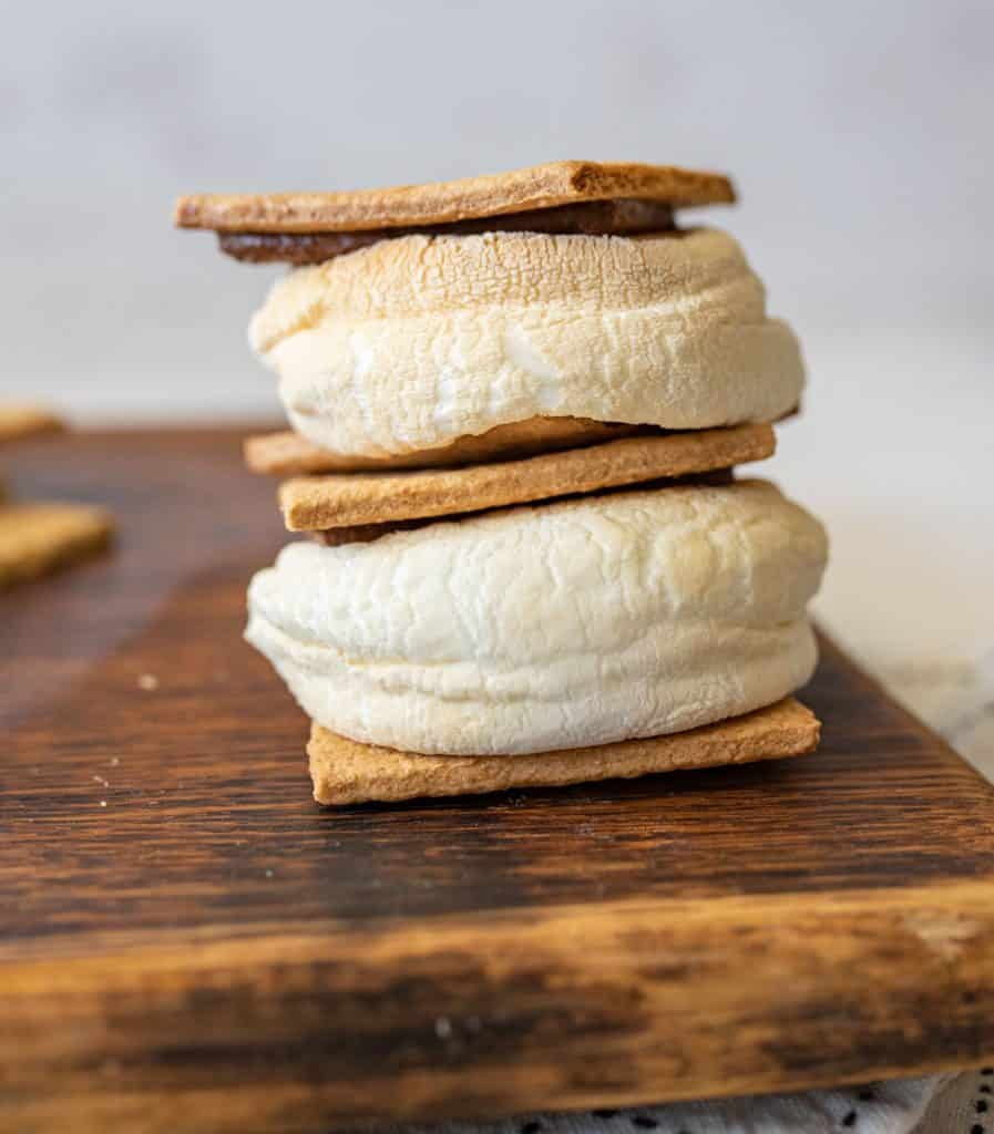 side view of air fried smores stacked on top of each other