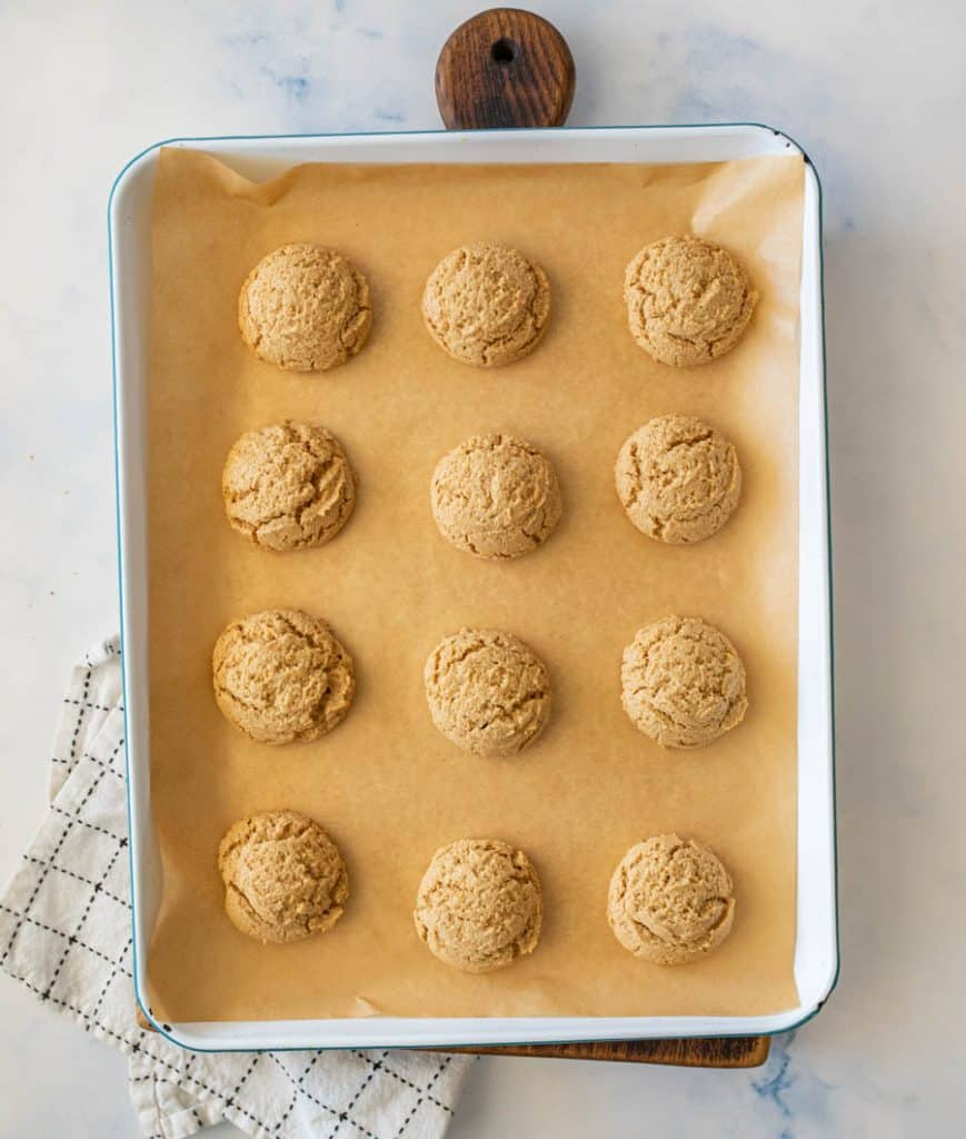 top view of peanut butter cookies on a baking sheet
