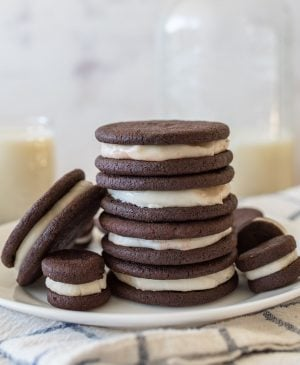 homemade oreos stacked on top of each other on a plate