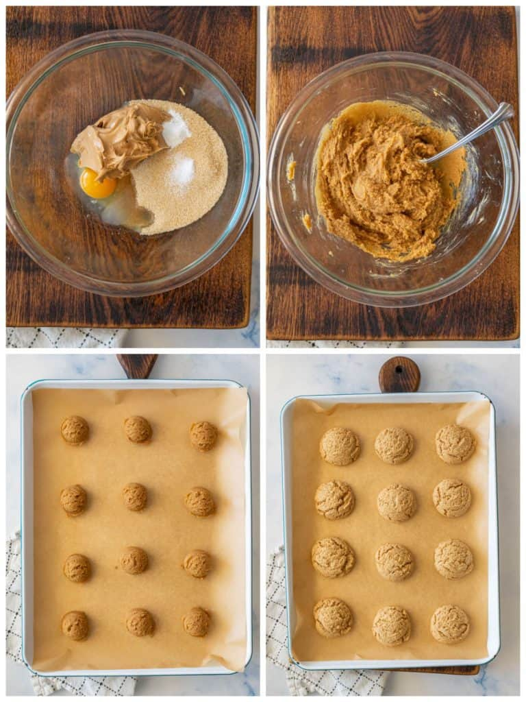 four photo collage of peanut butter cookies. top left picture is of the ingredients in the bow. top right picture is of the cookie dough. bottom left picture is of the cookie dough in balls on a cooking sheet. bottom right picture is of the cookies baked on a sheet