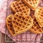 heart shaped waffles on a cooling rack