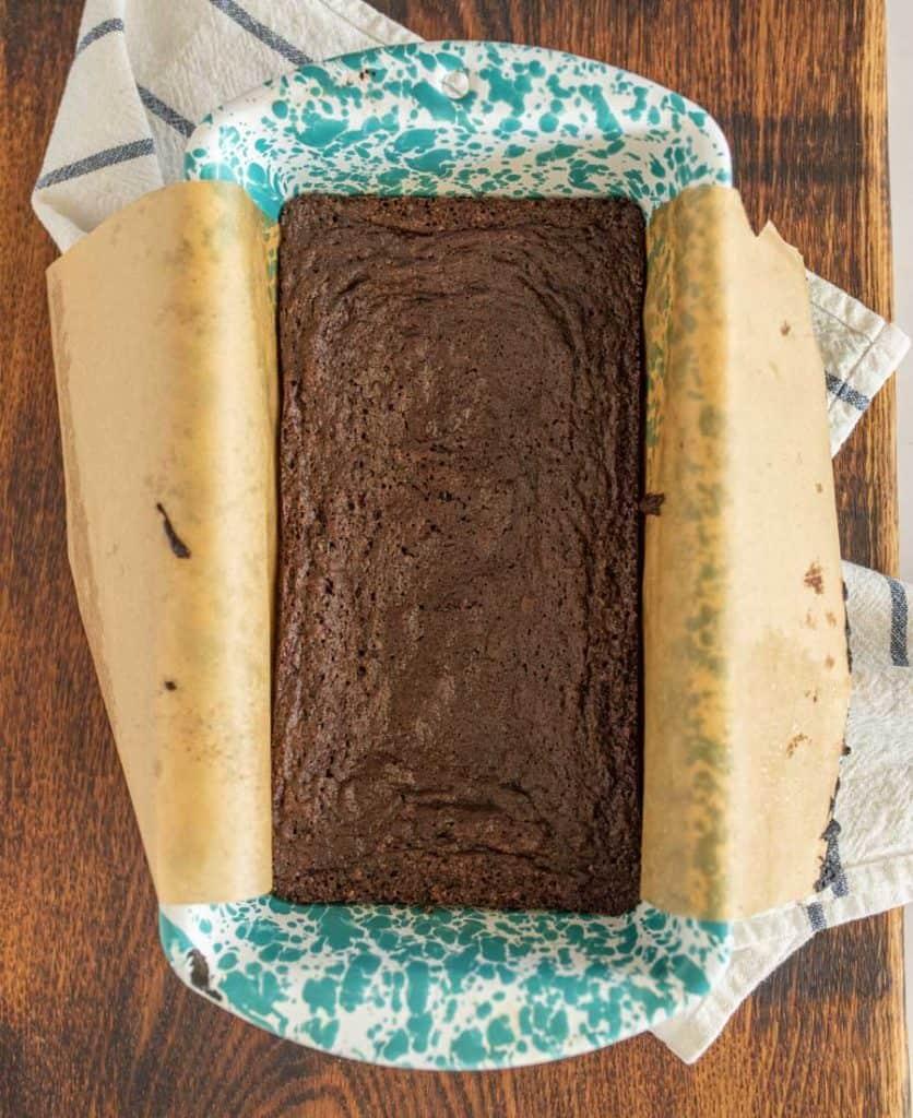 top view of brownies in a loaf pan
