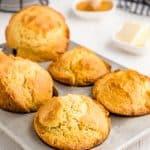 corn muffins in a muffin tin