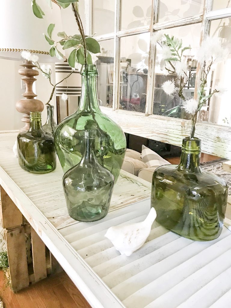 green bottles, spring decor