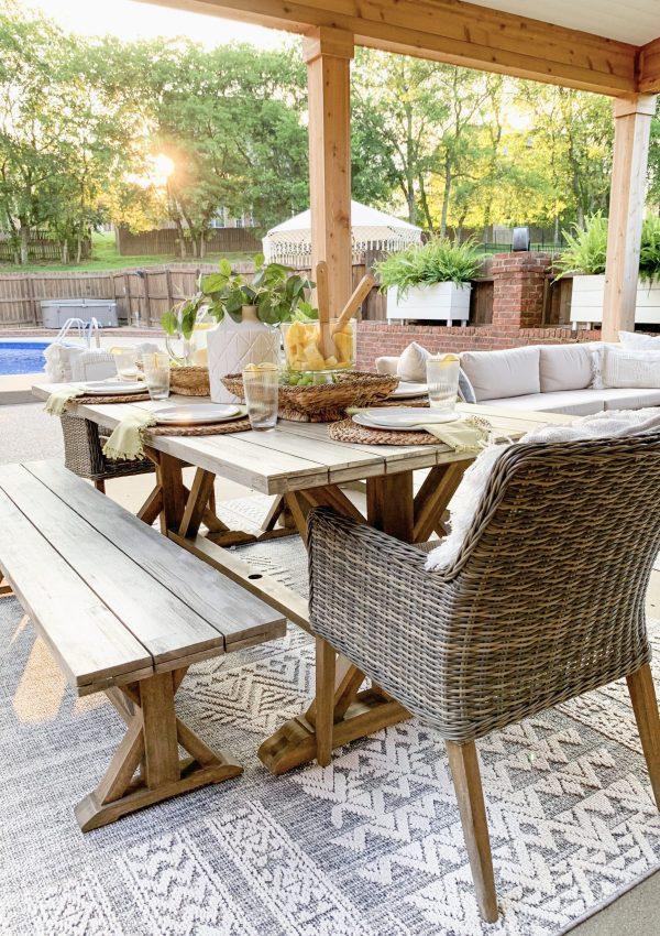 Outdoor Summer Tablescape + Patio Tour