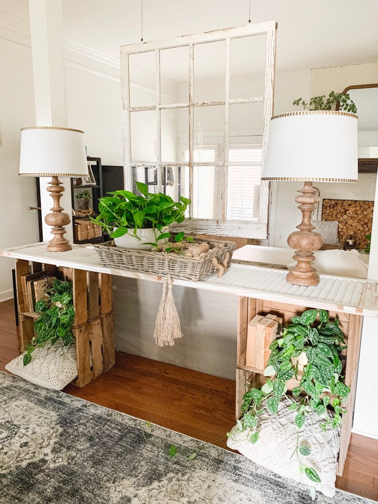 shutter console table with decor
