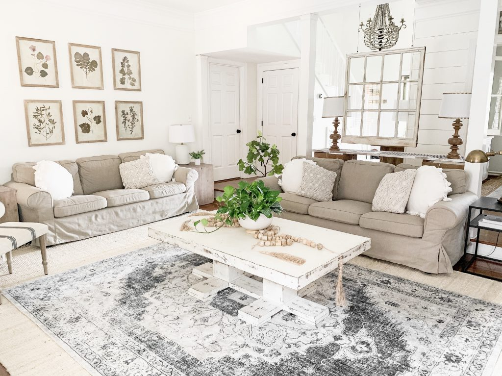 neutral living room area rug