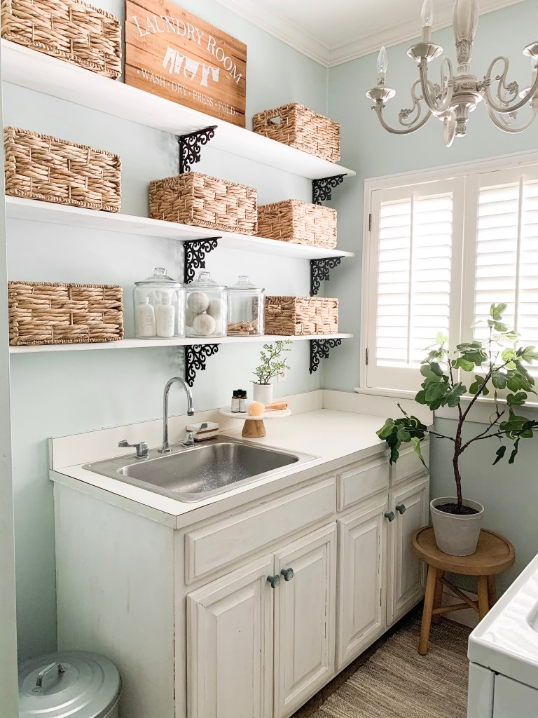 laundry room sink and shelves