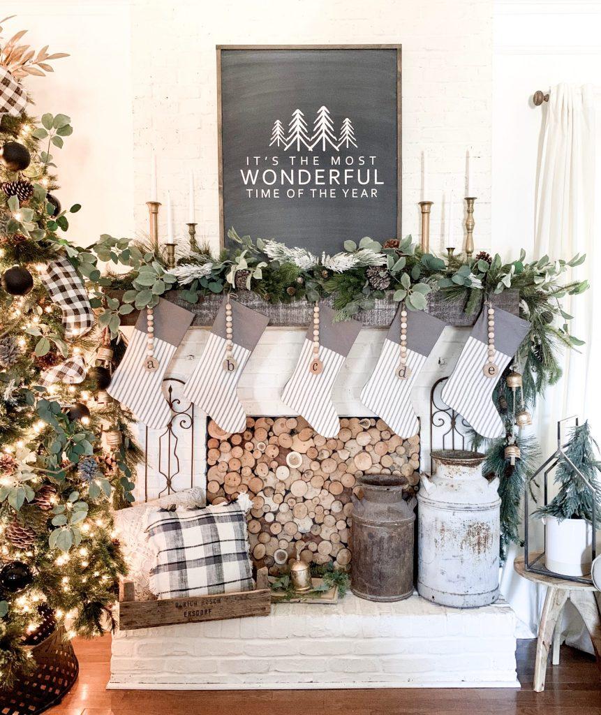 Christmas mantel in living room