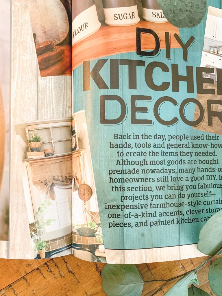 magazine page of DIY kitchen decor ideas.