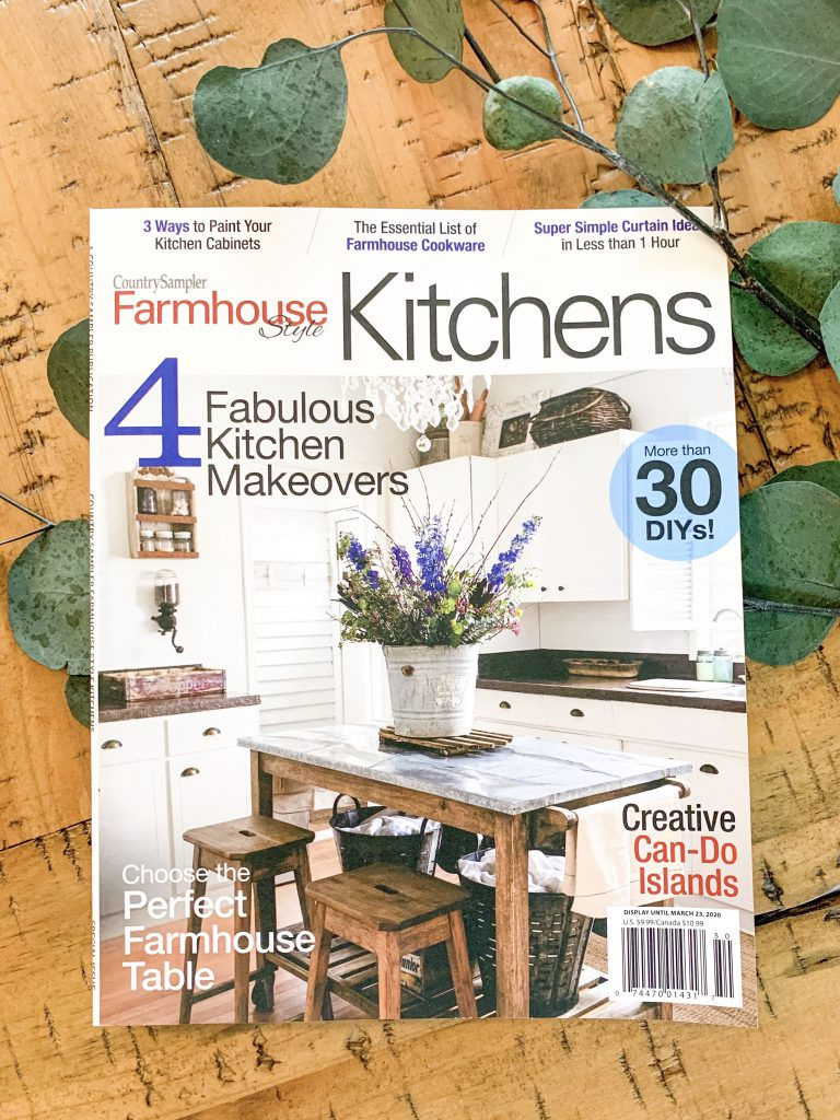 Front of Country Sampler farmhouse style kitchens magazine.