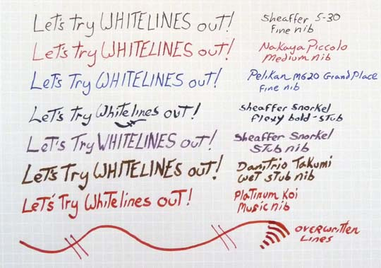 Different pens, same line on Whitelines paper.