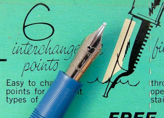 Sheaffer stainless steel tip-dip nib.