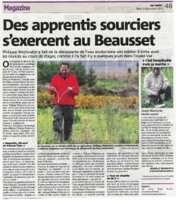 article de presse sur les formation de sourcier animé par Philippe Wojtociwz, expert sourcier dans la commune du Beausset situé dans le département du Var