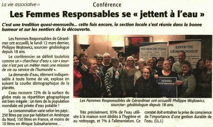 article de presse du sourcier Philippe Wojtowicz pour la conférence des Femmes Responsables