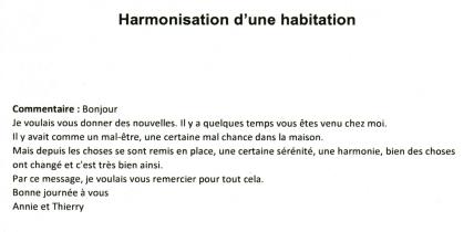 mail de remerciement pour l'harmonisation réalisé par l'expert géobiologue du 88