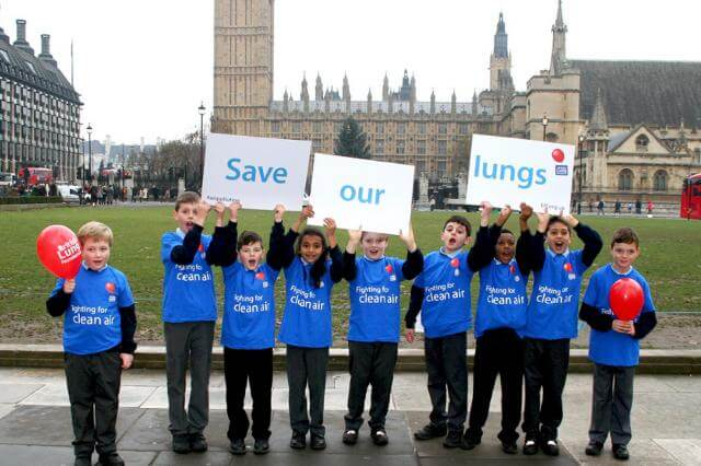 Handing in our air pollution petition at parliament and Downing Street
