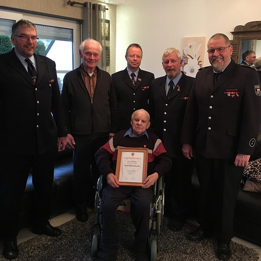 Karl Marczewski seit 70 Jahren Mitglied der Langscheider Feuerwehr