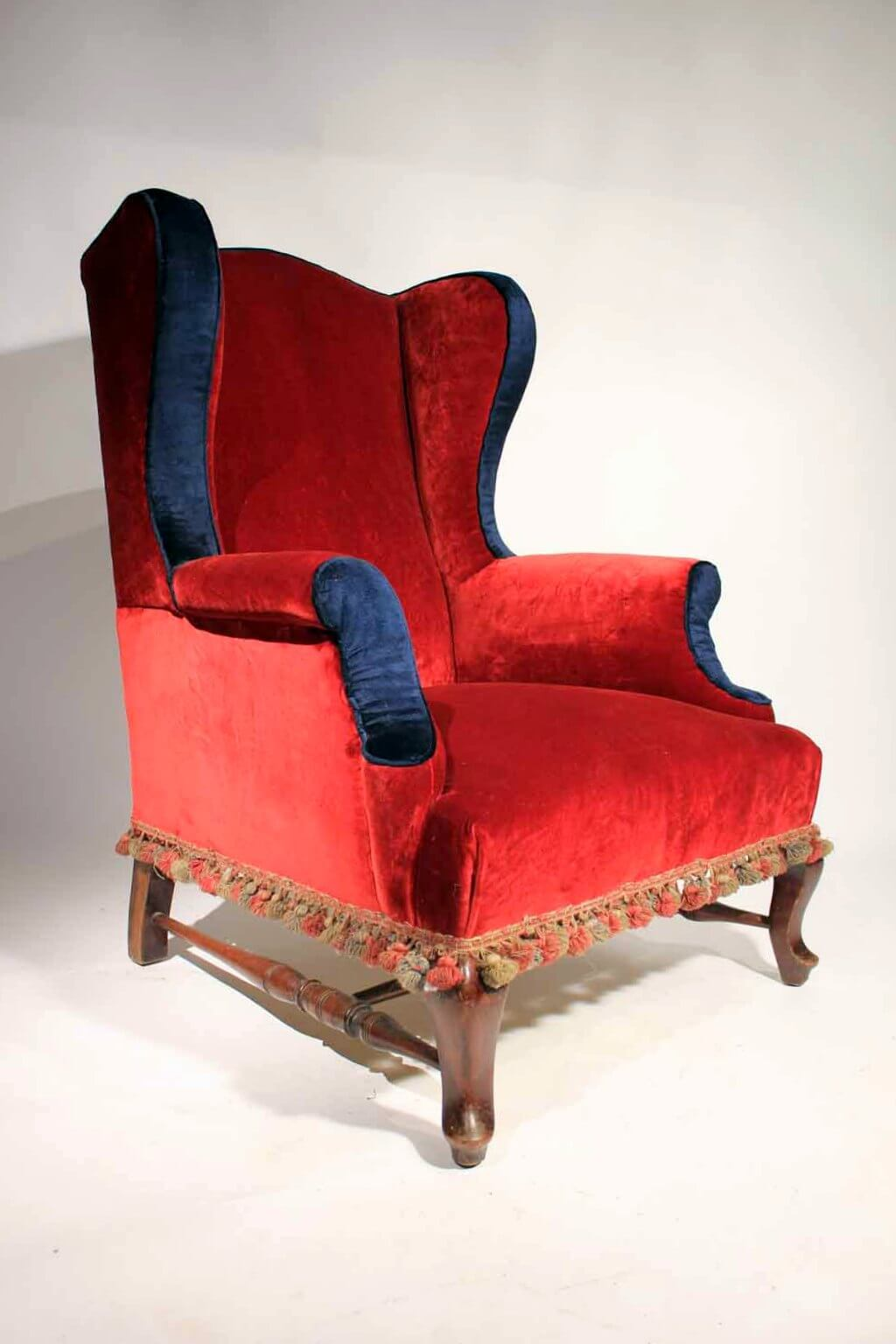 red wing chair queen anne side a victorian velvet  blighty antiques