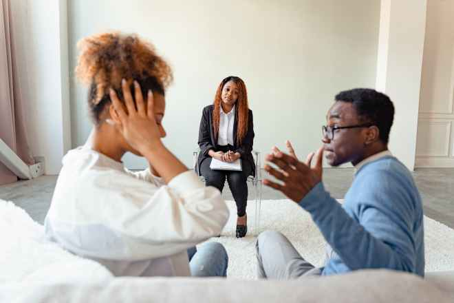 a couple in a psychotherapy session
