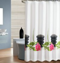 clear shower curtain with design | pretty clear shower ...