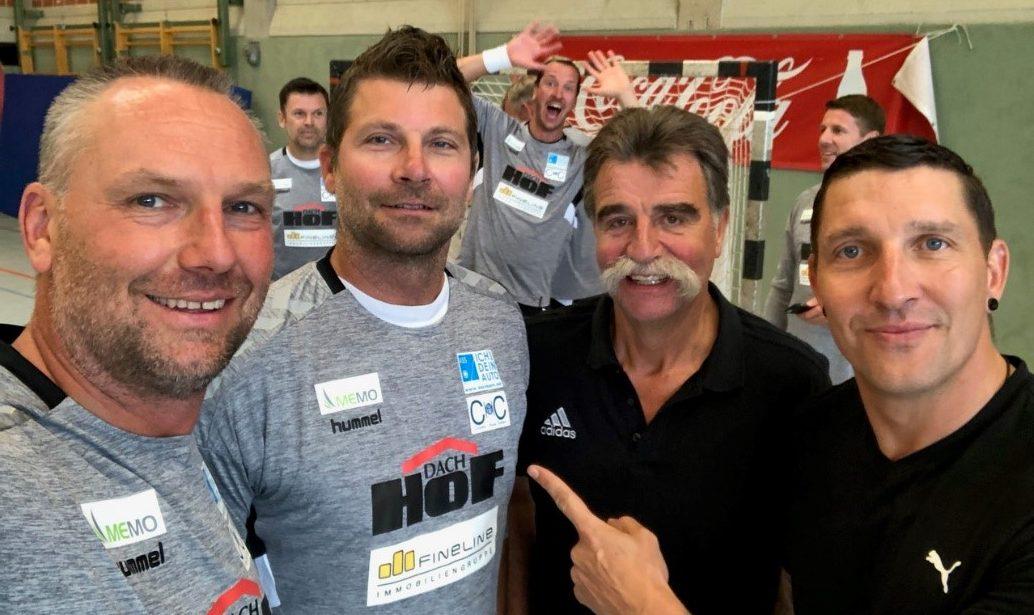 Handball-All-Stars Ch. Schwarzer, D. Stephan, H. Brand, S. Kretschmar