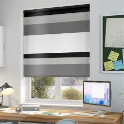 Grey Kitchen Blinds Home Depot Wall Tile Black Patterned Roller White Silver Striped Mondian Soho Blackout Blind