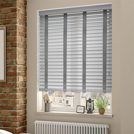 Pearl Grey  Steel Wooden Blind with Tapes  50mm Slat