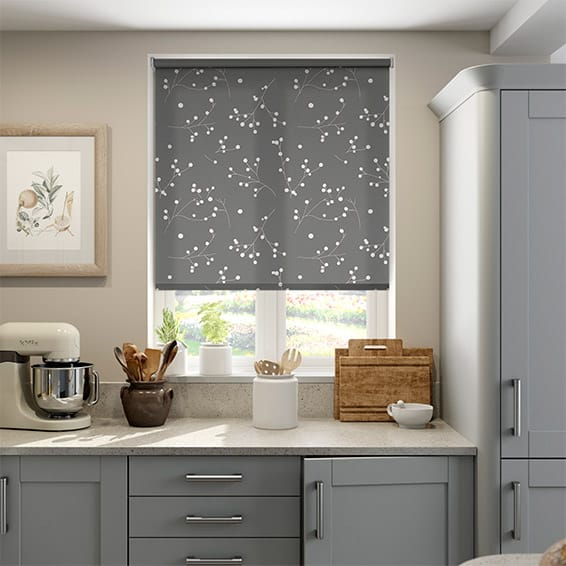 grey kitchen blinds oak and white table patterned roller pod silver by 2go