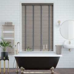 Grey Kitchen Blinds Flooring Ideas Contemporary Faux Wood At Affordable Prices Smoke Whisper Blind 50mm Slat