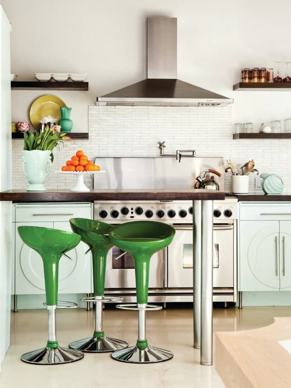 neutral kitchen with colorful stools