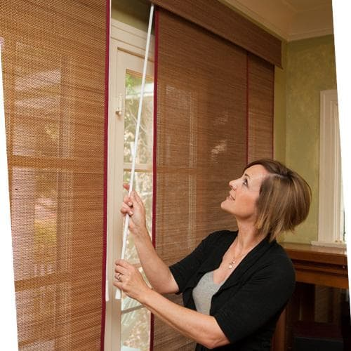 Cordless Woven Wood Sliding Panels Wand Control