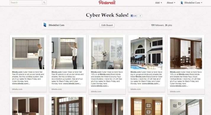 Blinds.com's Cyber Week Sales Board on Pinterest