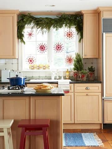 Christmas kitchen window display