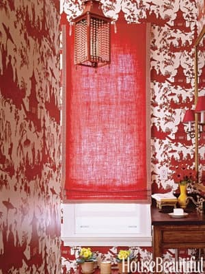 Red patterned wallpaper