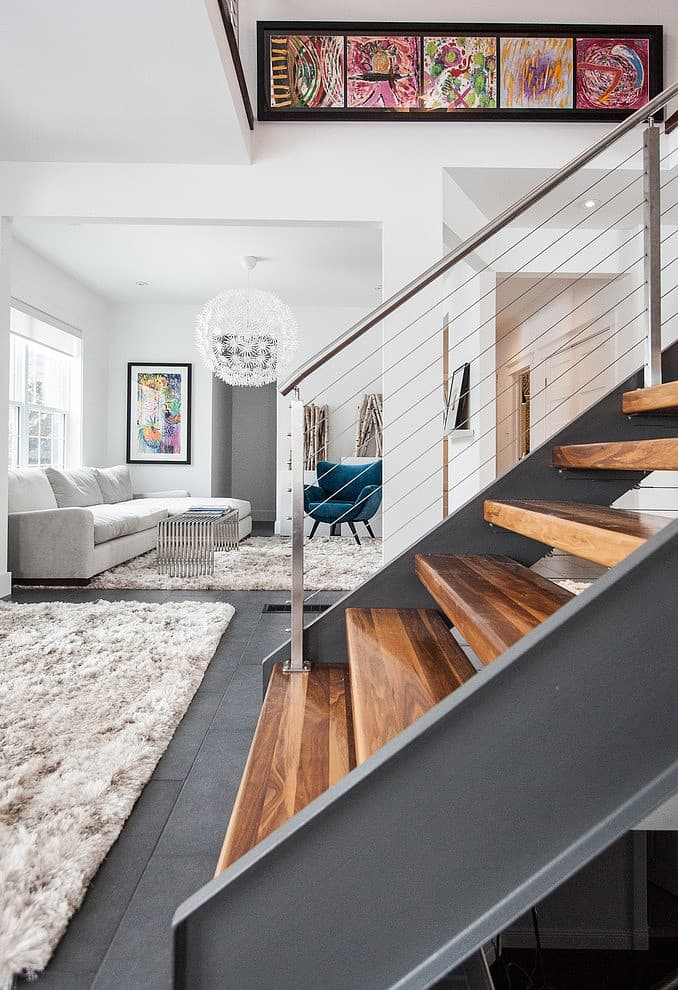 Industrial stairs + furry rug