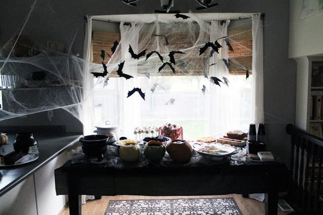 Bats and spiderweb Halloween window
