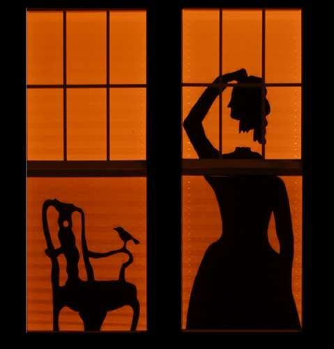 haunted house silhouettes - Halloween Window Decor