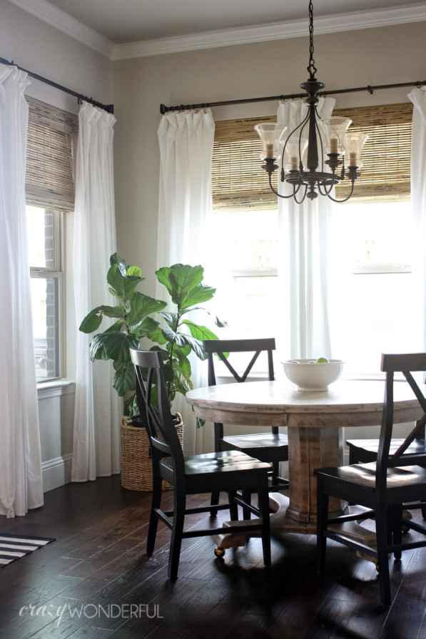 breakfast nook bamboo shades