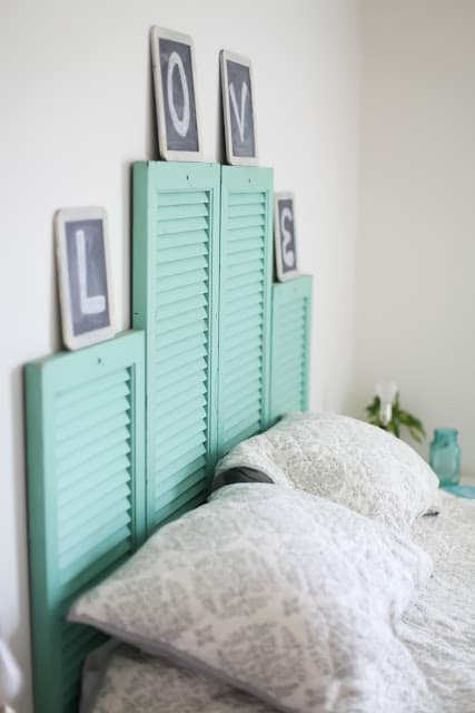 Painted shutters headboard