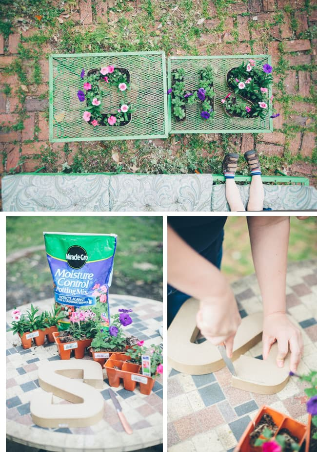 Spring letter planters