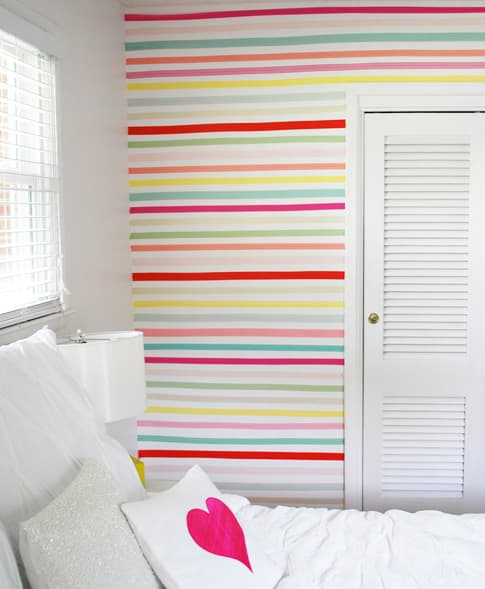 Washi Tape Wall for Dorm Room