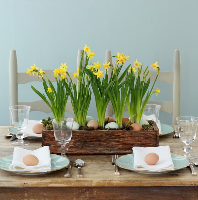 Daffodils and Eggs Centerpiece
