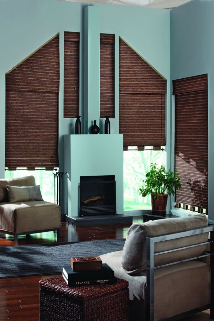 Bali Woven Wood Shades for angled windows
