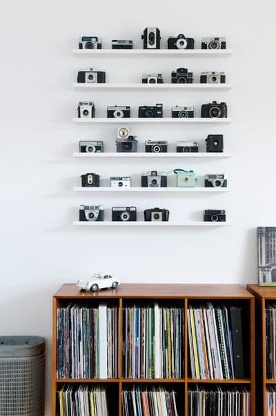 Vintage camera wall display