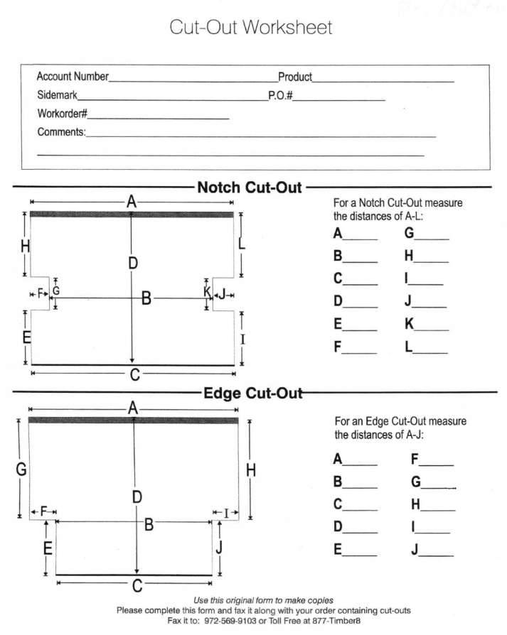 Blinds Tile Cut Out Measuring Worksheet
