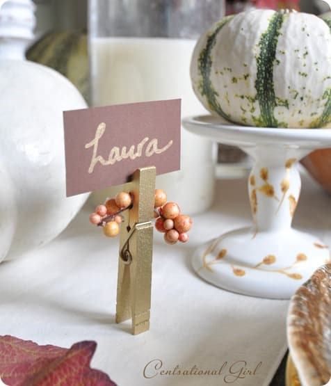 gold-clothespin-place-card-holder-cg & Easy DIY Custom Table Settings for Thanksgiving - The Finishing Touch