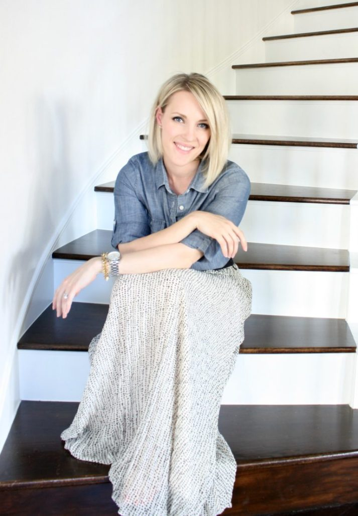 shelley westerman crazy wonderful sitting on wood steps inside home